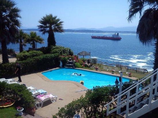Quintero, Chile: View of pool/ grounds/ bay
