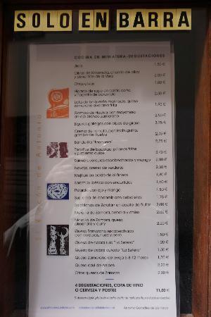 El Rincon de Antonio: Меню закусок в баре