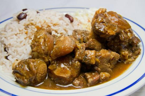 ... Caribbean Grill: Stew Chicken with rice & peas and homemade coleslaw