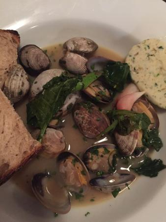 Pago: Clams sparkling wine vermouth broth spring onion butter sourdough