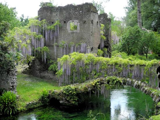 vista sul fiume ninfa con rovine e glicine foto di