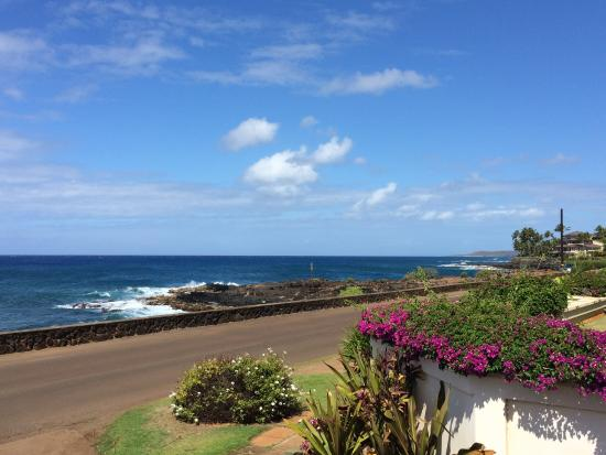 Alihi Lani Poipu Beach Oceanfront Condominiums: view from the lanai