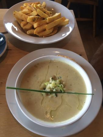 Mountain Cafe: Smoked white fish celeriac and cider soup with apple salsa