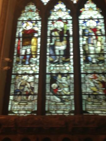 Llandaff Cathedral: King Arthur on left