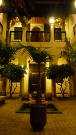 Angsana Riads Collection Morocco - Riad Blanc: The lovely courtyard at Riad Blanc, lit up at night.
