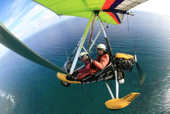 at the controls of the powered hang glider with denise picture of paradise air haleiwa. Black Bedroom Furniture Sets. Home Design Ideas
