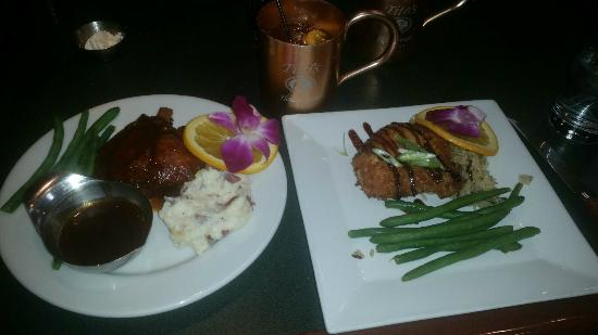 Courthouse Pub: 1/2 portion of the pork and brie chicken (after splitting) and the moscow mule