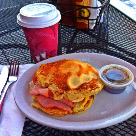 Sweet Maple Cafe: Gingerbread pancake breakfast sandwich with ham and cheese with Real Maple syrup and a medium ro