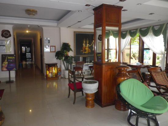Lobby at Siem Reap Riverside hotel.