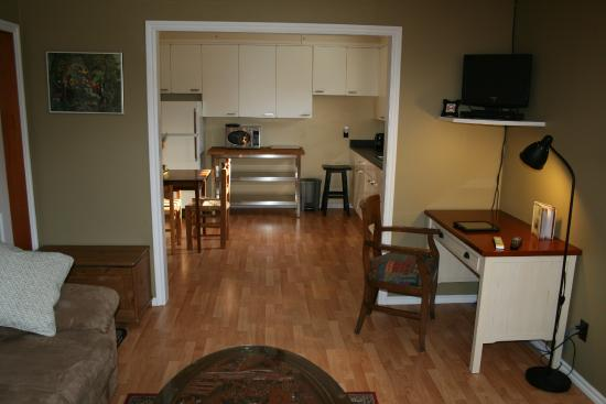 Elkview Accommodation: View of Kitchen area from sitting area.