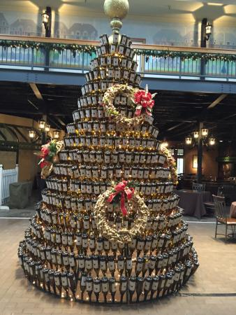 Huge Christmas tree made out of wine bottles! It is in the ...