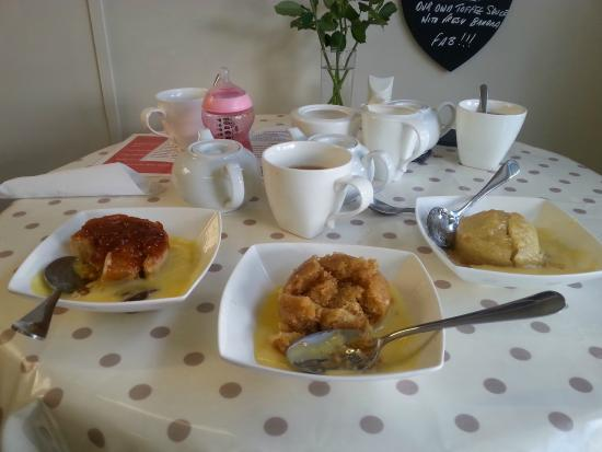 The Pudding Shop& Kitchen Cafe: 3 different pudds about to be devoured !!