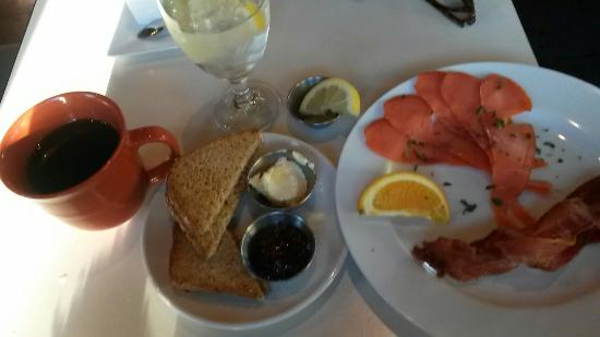 Scratch Restaurant & Lounge: From the sides. Gluten free toast, lox and bacon. 10$ soo good!