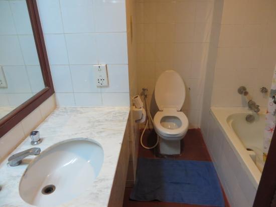 Diamond Riverside Hotel : 洗面所とバスタブ
