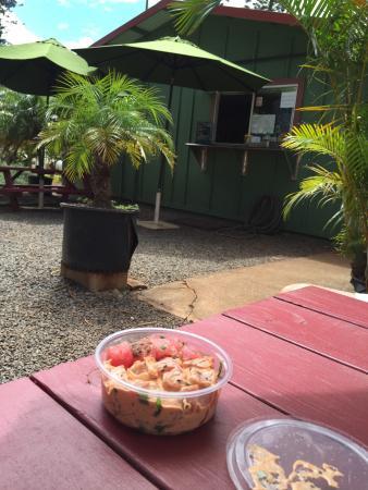Lana'i Ohana Poke Market: View from my table 1/2 lb of Spicy and Futo??? (Black seaweed)