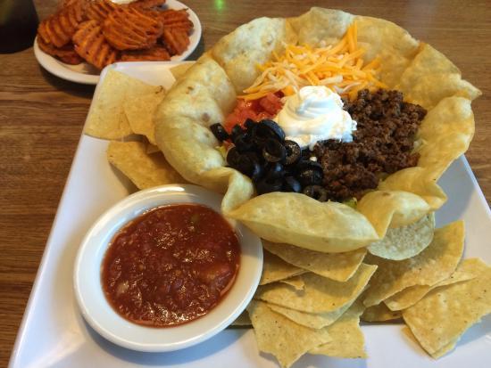 Dogs R US: Taco salad and sweet potato fries.