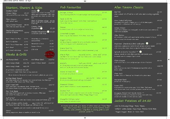 Cwmafan, UK: Menu - Inside