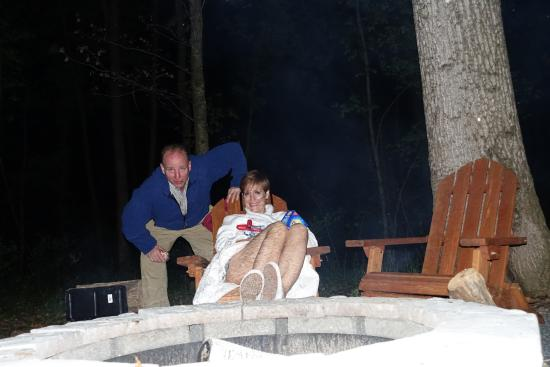 Inn at Moler's Crossroads : view of s'more making guests at the fire pit