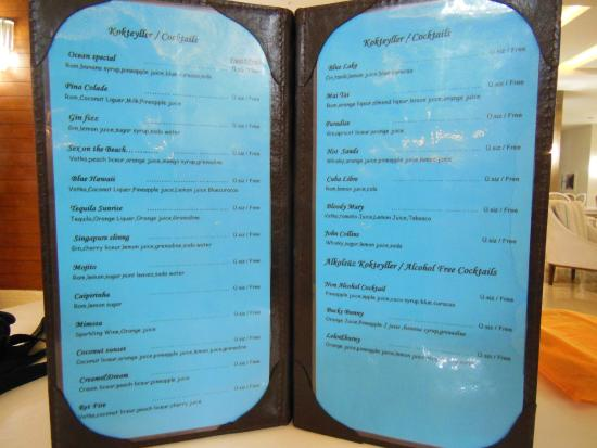 Adalya Ocean Deluxe : une partie de la carte des boissons