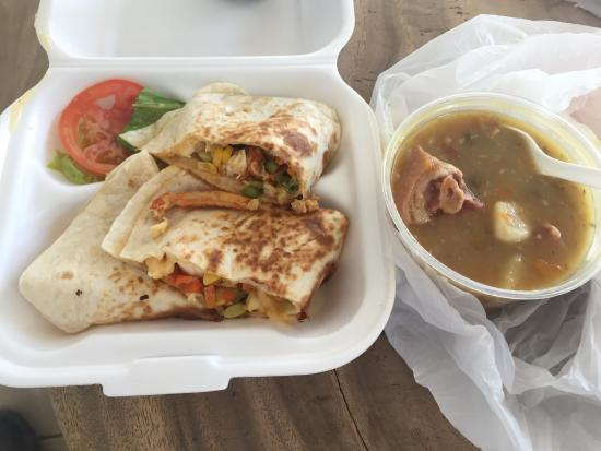 Anguilla, MS: Lobster Quesadilla. Pea Soup with Pig Tail.
