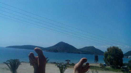 Hotel Golden Beach Tolo: Sorry about the toes, was a joke for a friend, and only room view pic.