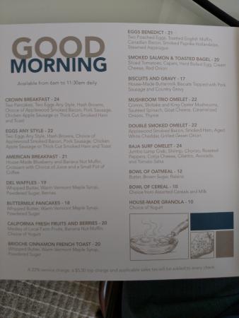 room service menu picture  hotel del coronado tripadvisor