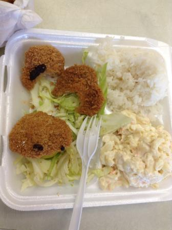 Keaau, Havai: Serving size, 3 scallops the size of gumdrops with gagging breading