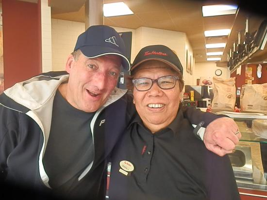 Tim Hortons : Photo op with Donna - another one of the longtimme emmployees and always with a ready smmile!!!