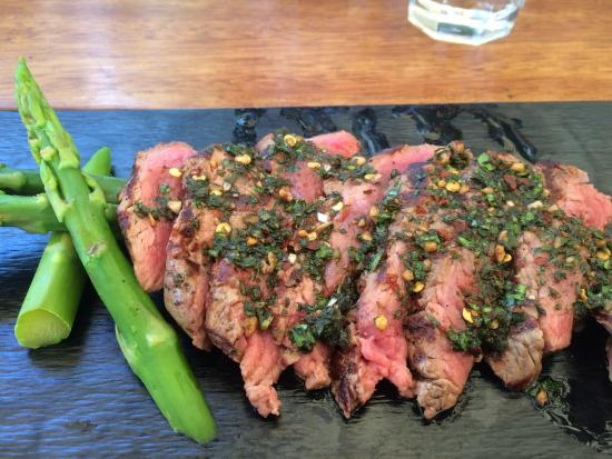 Blue Fig Lovely Argentinian Beef Steak With Spicy Dressing And Organic Asparagus