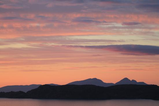 Glengorm Wildlife Project: Rum and Ardnamurchan, viewed at dusk on Glengorm