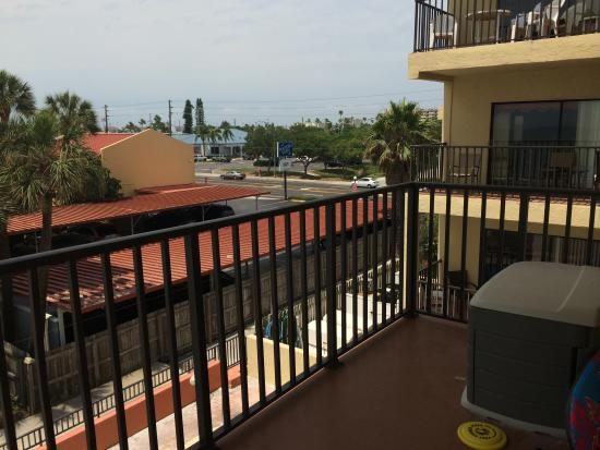 Las Brisas Condominiums: view from the other side of the wrap around balcony. The pool is right below this balcony
