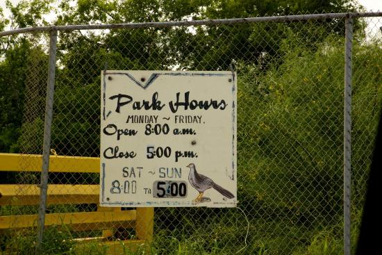 Mission, TX: Azalduas Park Hours Sign