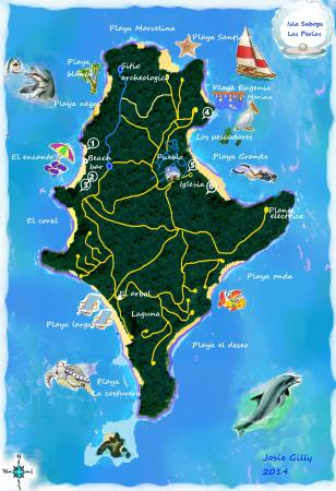 Isla Saboga: This is a map of Saboga in Las Perlas.  You can get there by ferry from Panama City