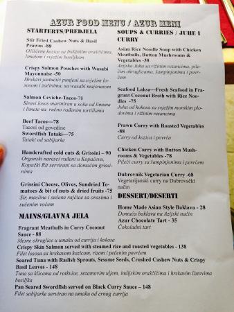 Restaurant Dubrovnik Menu Prices