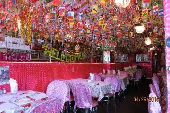 milon restaurant decor while garish grows on you
