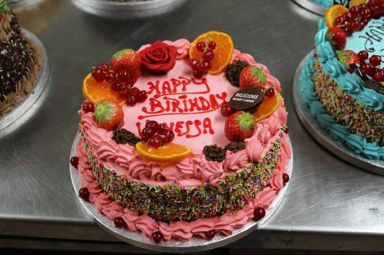 Fresh pink cream cake with fresh fruit Picture of Delicious