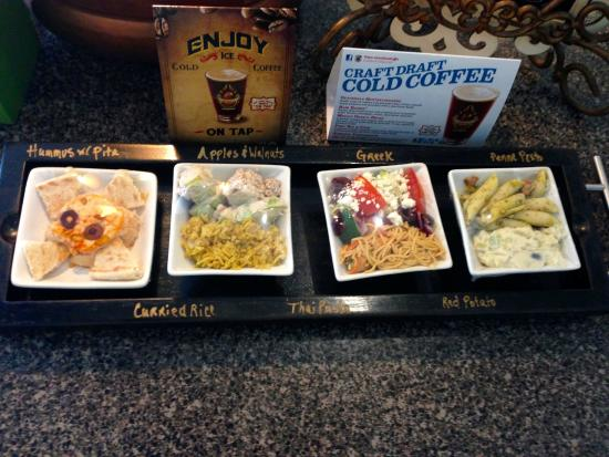 Odyssey World Cafe: Four of the fourteen side salads offered.