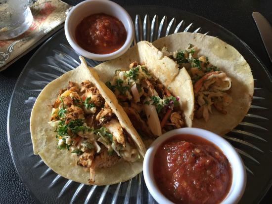 Baja fish tacos with extra yummy hot sauce.