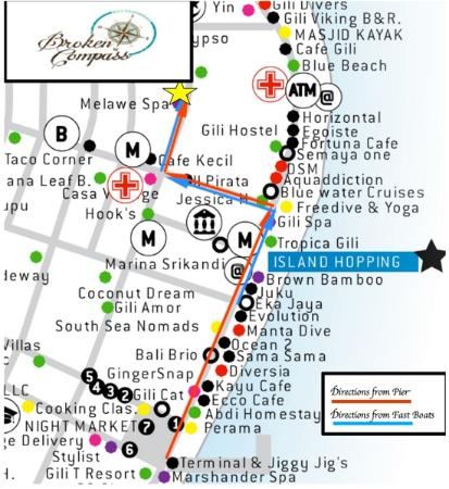 How to find us Picture of Broken Compass Hostel Bar Gili