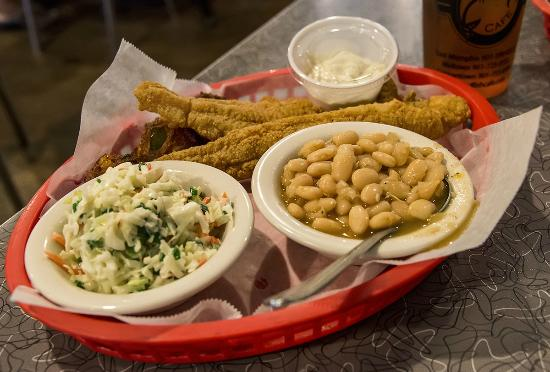 Fried catfish hushpuppies slaw and white beans for Soul fish cafe