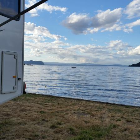 Motutere Bay Holiday Park: our campervan on the waters edge