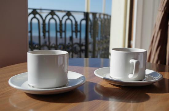 Beach Hotel: self made tea/instant coffee enjoyed in the room with a nice view
