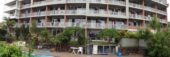 Port Stephens Marina Resort: The Group on thier balconys