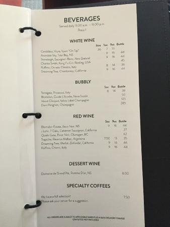 Delta Halifax: Wine Menu