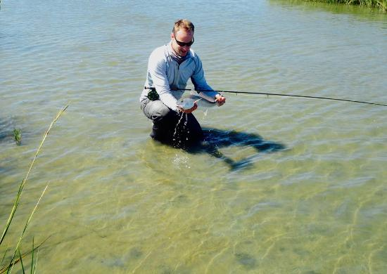 Wade fishing with fly fishing tackle picture of living for Wade fishing gear