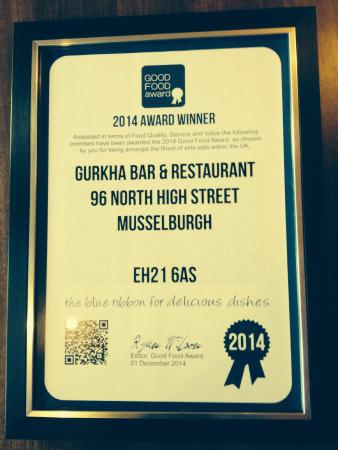 Gurkha Bar and Restaurant: WINNER OF GOOD FOOD AWARD