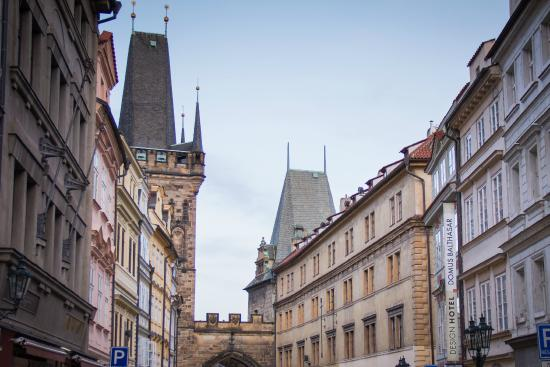 Hotel exterior with the charles bridge tower picture of for Domus balthasar hotel