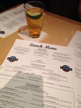 Lakes: Lunch menu