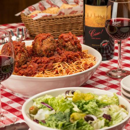 Buca di Beppo: Spaghetti and Meatballs with Salad