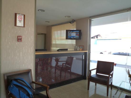 Iquique, Chile, Hotel Iquique Express. Front desk.